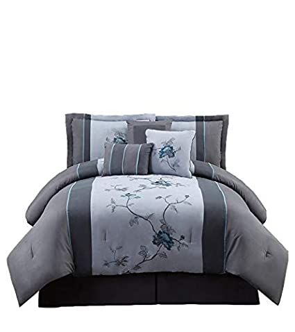 chezmoi collection 7 piece embroidered floral bed in a bag comforter set queen gray - Bedding In A Bag
