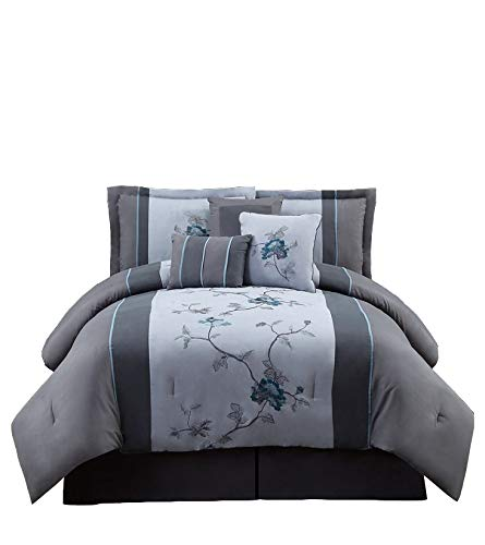 Chezmoi Collection 7-Piece Embroidered Floral Bed in a Bag Comforter Set Queen, Gray Blue