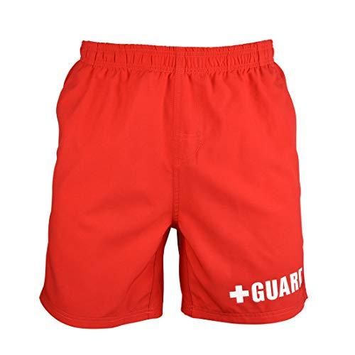 Guard Swim Trunks - Above The Knee (Red, - Swim Lifeguard Trunks