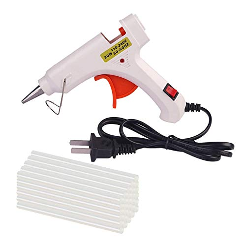 Hot Melt Glue Gun with 30 pcs Free Glue Sticks, High Temperature Melting Glue Gun with Safety Stand and Built in Fuse for Over Heat Protection for Small Craft Projects, Home, Office and Quick Repair]()