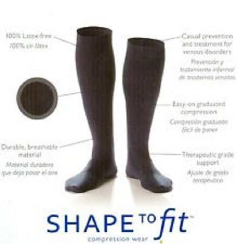 Dr. Comfort Shape to Fit Compression Socks for Men Large BLACK - To Shape Fit