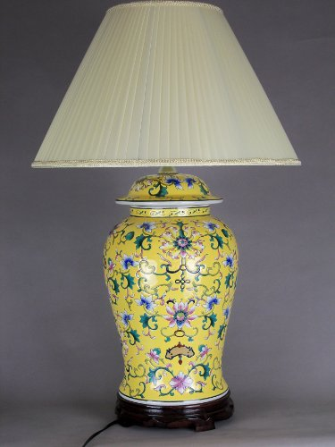 All Decor Table Lamp Porcelain Base Floral Design Yellow, 15.8 x 15.8 x 28.4 Inches