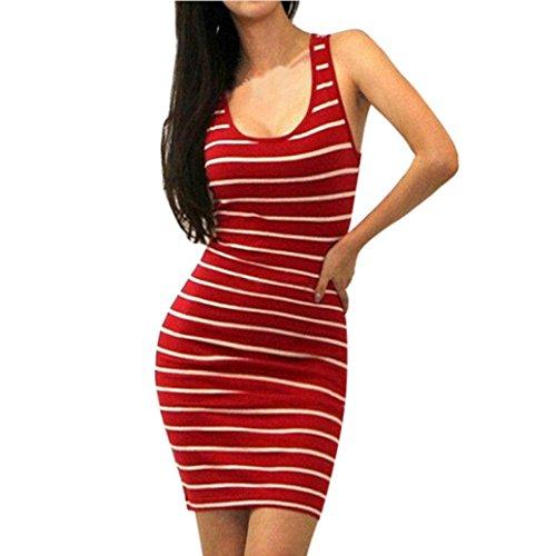 Mangas Mangas ❤️ sin Tirantes Vestido Corto Mujer,Mini Vestido Ajustado Absolute Rojo sin de Noche Rayas para wTTISWnr7q
