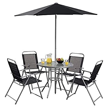 Tesco Hawaii 6 Piece Garden Furniture Set Table with 4 Chairs ...