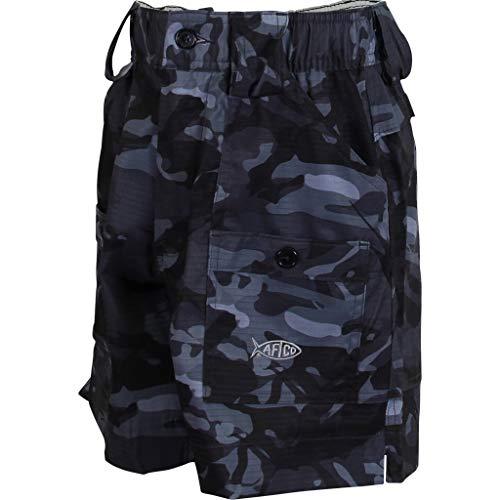AFTCO BE2 Boys Camo Original Fishing Shorts (26, Black Camo)