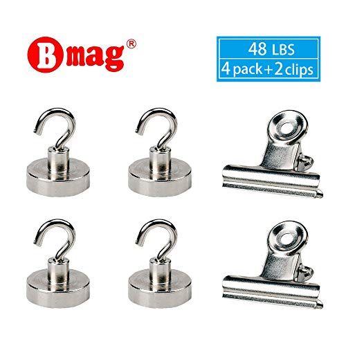 BMAG Magnetic Hooks, Heavy Duty 48 LB Powerful Neodymium Rare Earth Magnet Hanging Hook Set, Multi Use for Indoor/Outdoor Hanging, with 2 Magnetic Clips, (4 PCS, Dia 0.98)