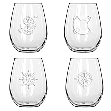 SET OF 4 -Stemless Boat Wine Glasses-Nautical Themed, Plastic, 16oz, Pool Wine Glasses, Shatter Proof Drinking Glasses for Wine or Cocktails