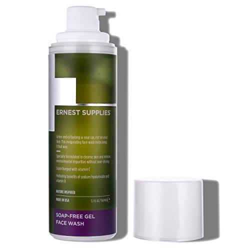 Ernest Supplies Soap-Free Face Gel Wash for Men, Bathroom Sized Bottle Daily, Plant-Based Face Cleanser to Clean Pores and Remove Impurities, with Antioxidants, 5.1 Oz.