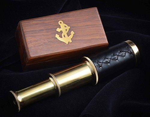 Handheld Brass Pirate Navigation Telescope with Wooden Box - by Explore (17')