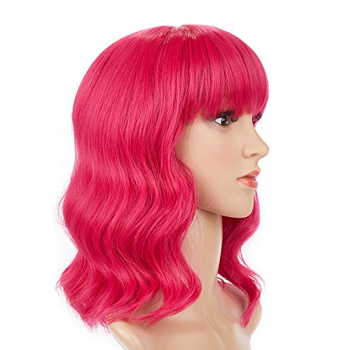 Hot Pink Wigs for Women Short Curly Party Hair Wigs with Flat Bang 12