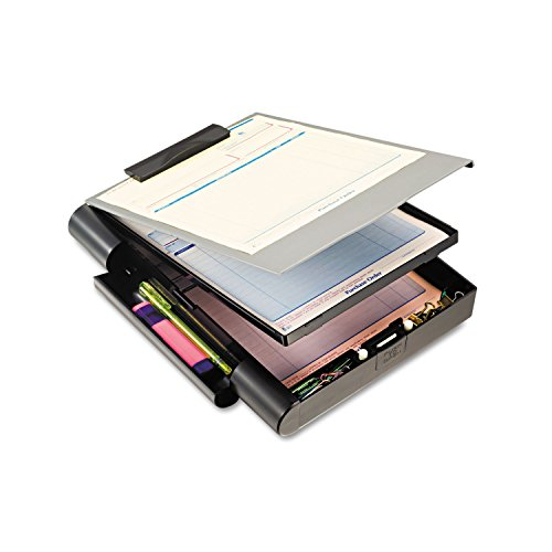 Officemate Recycled Double Storage Clipboard/Forms Holder, Plastic, Gray/Black - Storage Plastic Clipboard