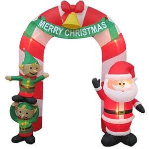 Christmas Decoration Lawn Yard Inflatable Airblown Santa And Elves Archway 9 Tall