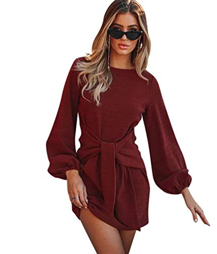 Xinwcanga lgant Couleur Soire Mini Chemise Col Style Rouge Rond Casual Tunique Robe Robes Unie Femmes SSrxFZ