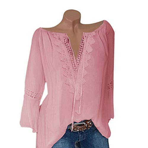 Witspace Women Plus Size Loose Print V-neck Solid Lace Blouse Pullover Tops Shirt ()