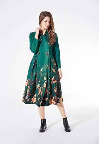 Veni Women's Oriental Folk Maxi Linen Dress 2 Masee D Style Green Beauty Irregular Painting Cotton Casual pieces Loose rgAxErqw5