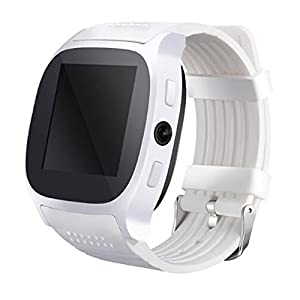 SHENGMO T8M Bluetooth heart rate smart watch for men and women for blood pressure monitoring fitness tracker Pedometer Calorie Counter Sleep monitor (white)