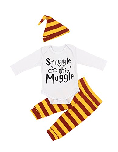 3Pcs Outfit Set Newborn Baby Boys Girls Snuggle this Muggle Long Sleeve Rompers Bodysuit and Striped Pants Outfit with Hat(0-3 (Funny Baby Outfits)