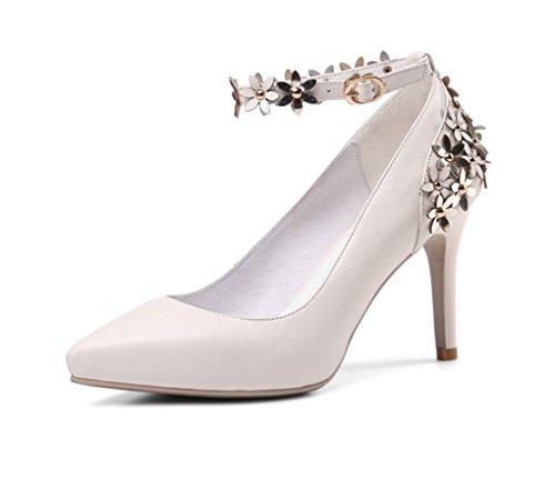 haut tempérament cuir Couleur bouche la chaussures 34 princesse Beige profonde véritable Beige taille en Chaussures de peu talon femmes XHYfYq