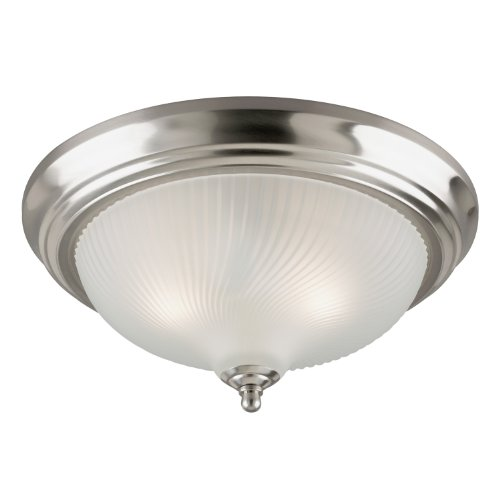 (Westinghouse Lighting 6430600 Three-Light Flush-Mount Interior Ceiling Fixture, Brushed Nickel Finish with Frosted Swirl Glass)