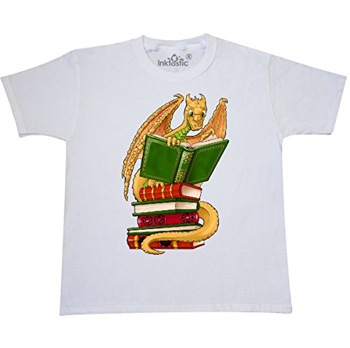inktastic Well-Read Cute Gold Dragon Youth T-Shirt Youth X-Small (2-4) (White Gold Dragon Shirt)