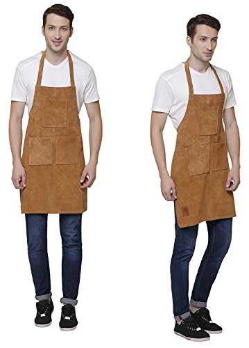 Rustic Town Genuine Leather Grill Work Apron with Tool Pockets ~ Adjustable up to XXL for Men & Women ~ Gift Ideas for Him Her (Tan) by Rustic Town (Image #4)