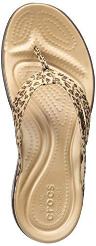 Crocs Women's Capri Leopard Print Strappy Flip Flop, Espresso, 10 M US