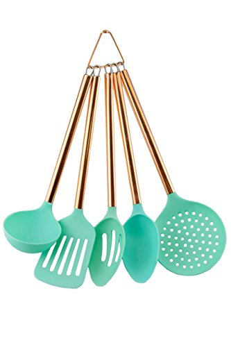 COOK With COLOR 5 Piece Mint Nylon Cooking Utensil Set on a Ring with Rose Gold Copper Handles