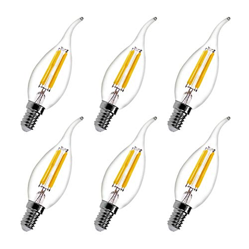 Twist 3 Bulb Way - Dimmable LED Candelabra Bulbs 4W E12 2700K Warm White,40W Incandescent Equivalent 400-Lumen BA11 Flame Tip Vintage LED Filament Candle Bulb for Living Room,Dinning Room,Indoor Lamp,Chandelier 6-Pack