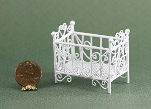 Wire Miniature White Victorian Dollhouse - Dollhouse Miniature White Wire Victorian Baby Crib