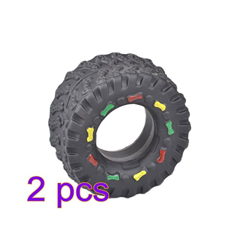 chic UEETEK 2 x Tire-Shape Pet Chew Bitting Toy Babble Funny Balls with Sound for Dogs Puppy Cats