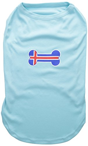 Mirage Pet Products Bone Shaped Iceland Flag Screen Print Shirts Aqua -