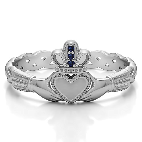(Sterling Silver Sapphire .02 CT Sapphire Celtic Claddagh Ring (Size 3 To 15 1/4 Size Interval))