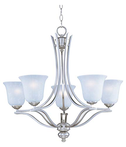 - Five Light Ice Glass Satin Silver Up Chandelier