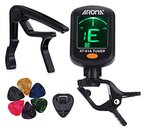 MOREYES Tuner Clip on Chromatic, Guitar, Bass, Violin, Ukulele Include Guitar Capo and Picks and Holder (Tuner+Capo)