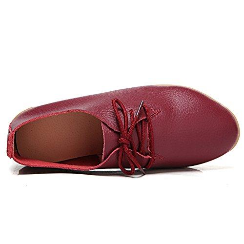 Lingtom Causale Lederen Instappers Schoenen Platte Instappers Voor Dames Voor Het Rijden In Bordeauxrood