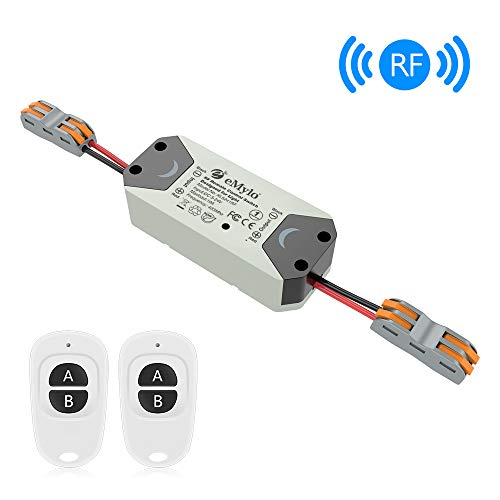 (eMylo Smart Wireless Relay Switch DC 12V RF Relay Module One 1-Channel Remote Control Switch 5V-24V RF Switch Home Automation 433Mhz with Two Transmitters 1 pack)
