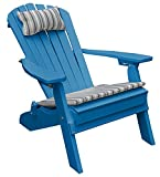 POLY WOOD FOLDING RECLINING ADIRONDACK CHAIR PORCH and PATIO SEATING, Polywood Outdoor All Weather Furniture, Perfect Chairs for Front Entry – Backyard – Fire Pit – Dock – Pool, Blue