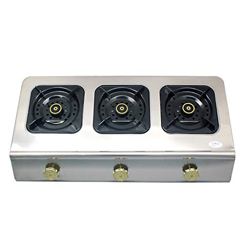 Natural Gas Cooktops,Stainless Steel Kitchen Hotel Outdoor, Restaurant, Home Desktop Rectangles 3 Burner Cooker Multi-Function (Best Double Oven Freestanding Ga Range)