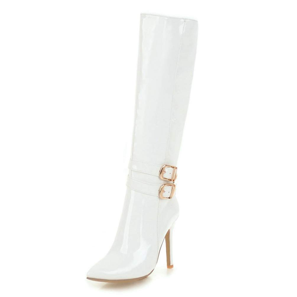 White T-JULY New Ladies Zip Up Pointed Toe Boots Woman Thin High Heels shoes Ladies Knee-High Large Size Boots