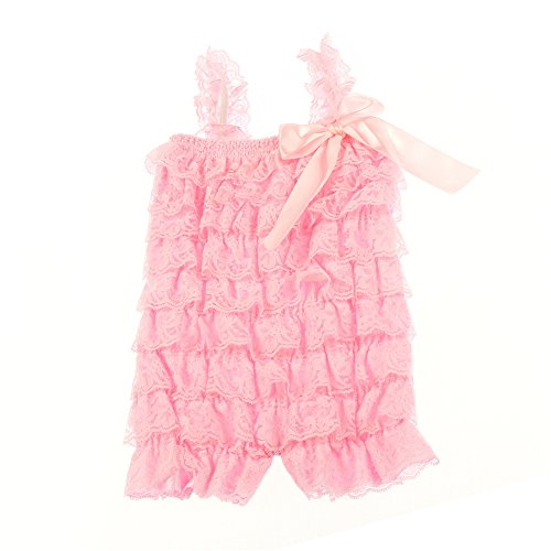 Romper Lace Romper (Kaiya Angel Rompers with Lace for Baby Girl Infant Romper Jumpsuit Bodysuit,Baby Pink,Small / 6month-1year)