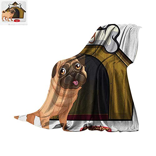Pug Lightweight Blanket Dog House with a Pug in Front and a Its Food Cartoon Style Image Fun Velvet Plush Throw Blanket 50