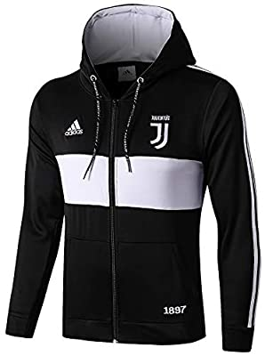 NTK-Jersey Men's 2019-2020 Official Juventus Full Zip Hoodie Black