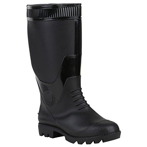 Stiefelparadies Herren Gummistiefel Stiefel Profilsohle Wasserdichte Regenschuhe Boots Flandell Schwarz