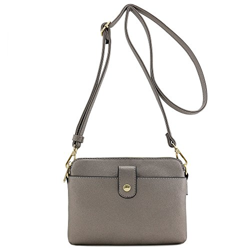Double Compartment Small Crossbody Bag (Pewter) ()