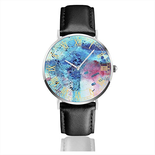 Mens Watch Abstract Acrylic Painting Music Notes Hot Minimalist Stainless Steel Quartz Wrist Watches with Replaceable Leather Band