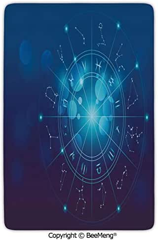 Mat Non-Slip Soft Entrance Mat Door Floor Rug Area Rug for Chair Living Room,Astrology,Fortune Telling Birth Chart Zodiac Signs in Space Geometrical Image Decorative,Turquoise Blue and White,16 x 24
