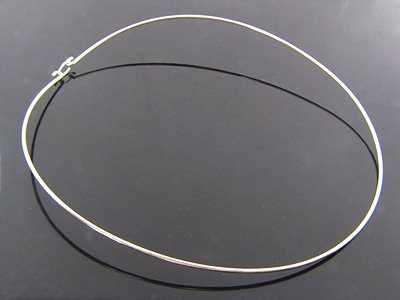"""OVAL """"C"""" Curve Choker .925 Italian Sterling Silver Necklace w/ Back Hook-Latched w/ FREE Cleaning Cloth"""