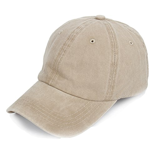 Hat Vintage Camping Cap Cotton Baseball Cap Low Profile Six Panel Military Cap Khaki, One Size ()