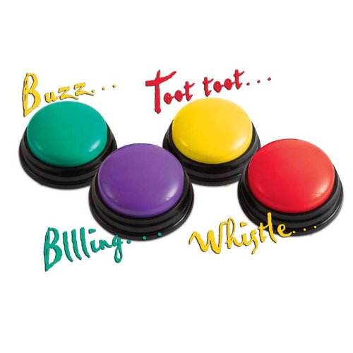 Super Sound Answer Buzzers - Set of 4 Fun Learning Game Audio Buttons