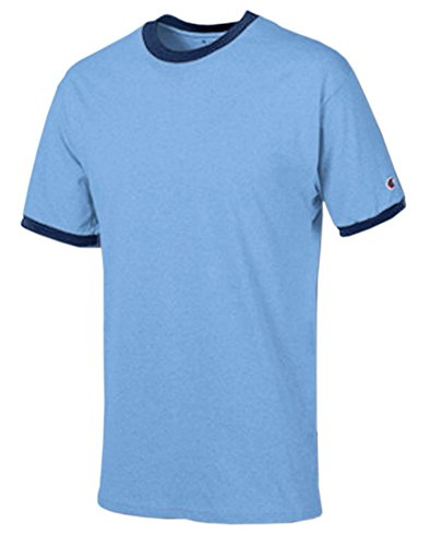 (Champion Men's Tagless Short-Sleeve Ringer T-Shirt, light blue/navy, XX-Large)